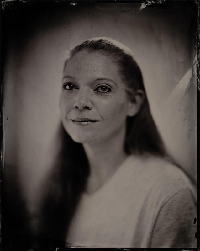 wet plate collodion portrait of homeless woman april