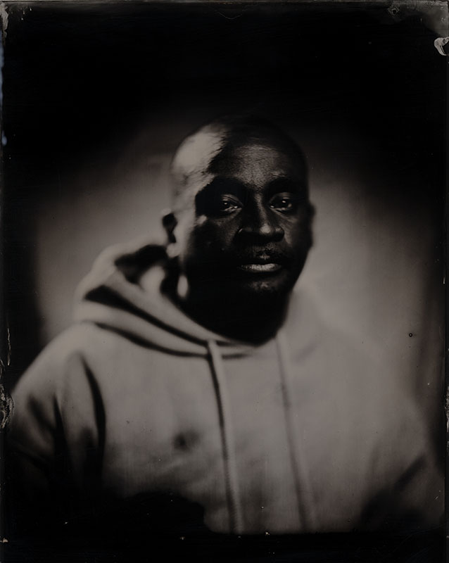 wet plate collodion portrait of homeless man jamie