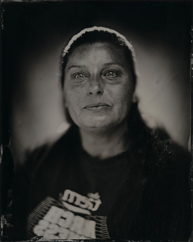 wet plate collodion portrait of homeless woman jinine