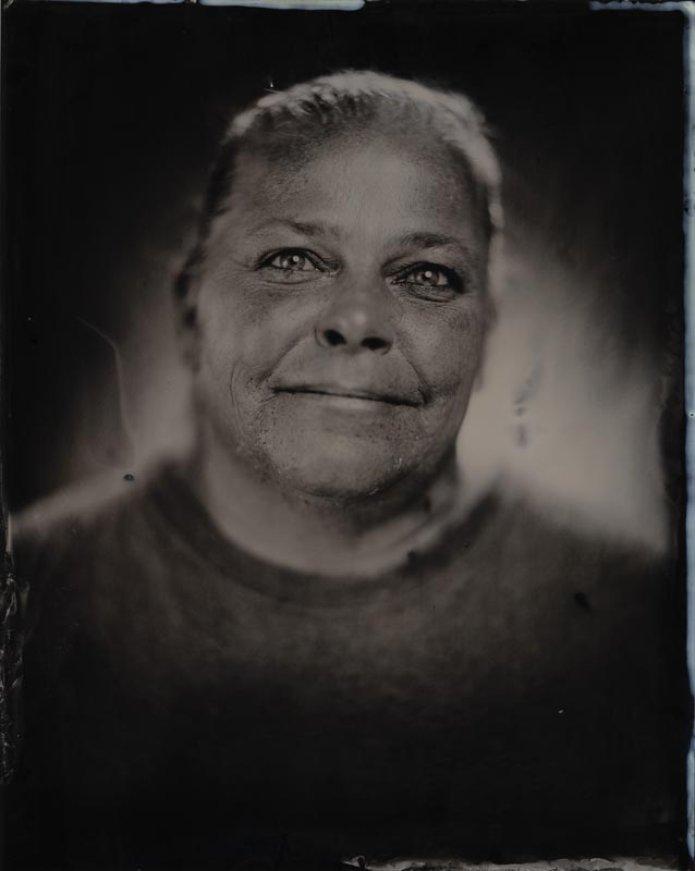 wet plate collodion portrait of homeless woman deborah