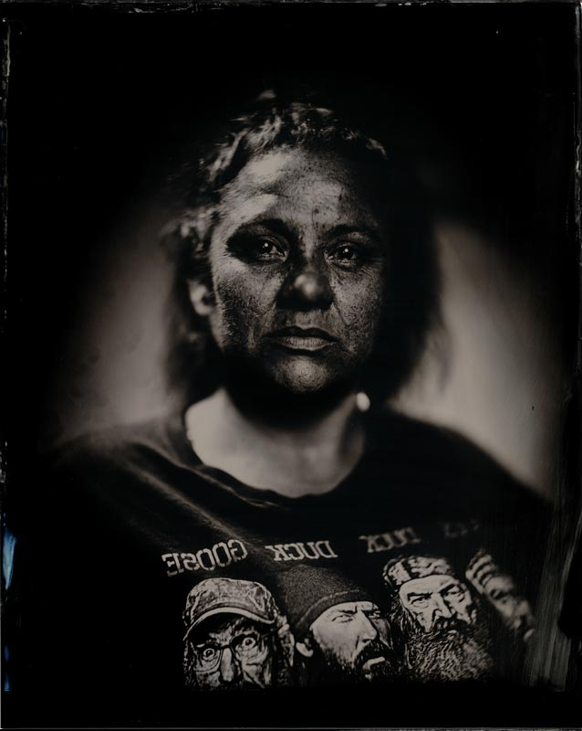 wet plate collodion portrait of homeless woman serena